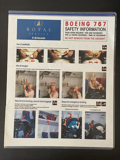 Britannia B767 royal service safety card