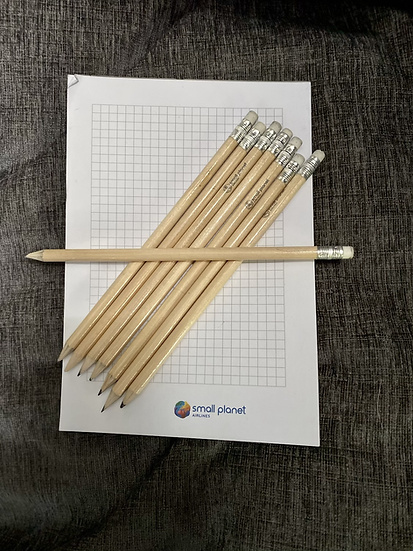 Small Planet notepad and pencil set