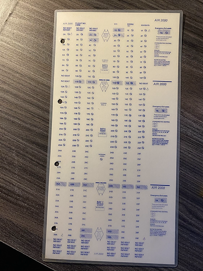 Air 2000 laminated seat chart Boeing 757-200 228 seater