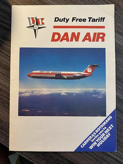 DAN AIR London Vintage Bar Tariff, July 1977