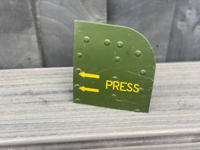 """Lynx Helicopter ZG918 starboard footstep door """"press"""" locking section"""