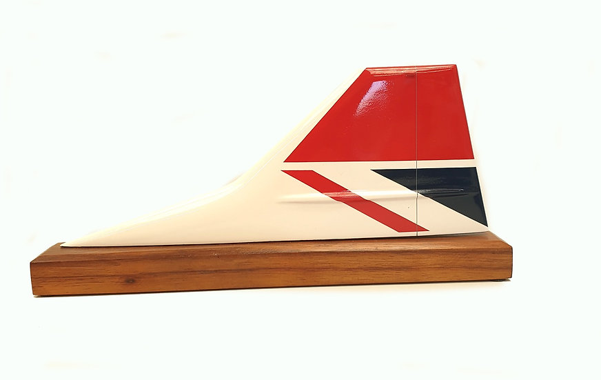 British Airways Concorde Negus hand carved and hand painted aircraft tail fin