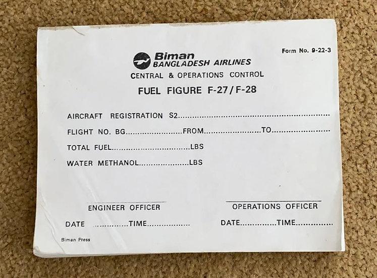Biman F27/28 fuel chit pad