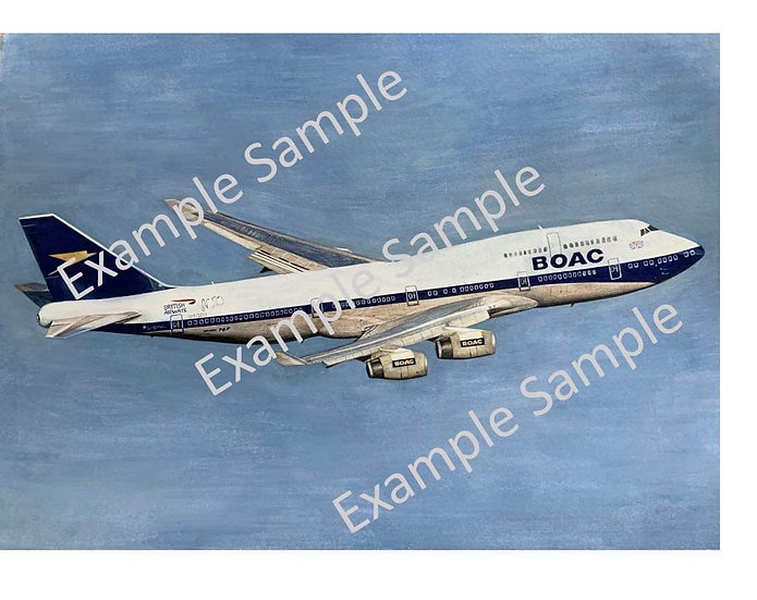 British Airways BOAC livery G-BYGC A3 watercolour painting