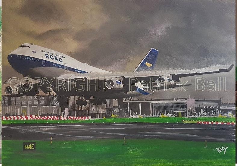 BOAC British Airways B747 Acrylic painting A4 Print