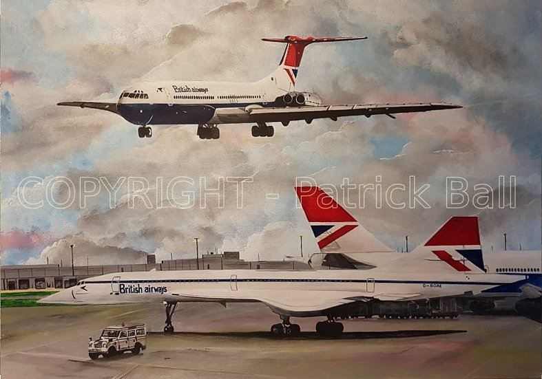 Concorde, VC10 and 747 at LHR acrylic paint original A2