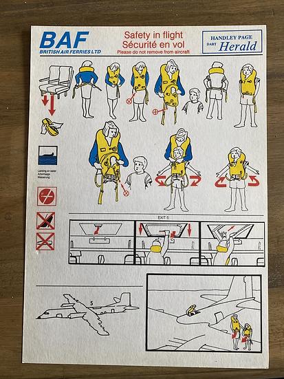 British Air Ferries Handley Page Herald safety card