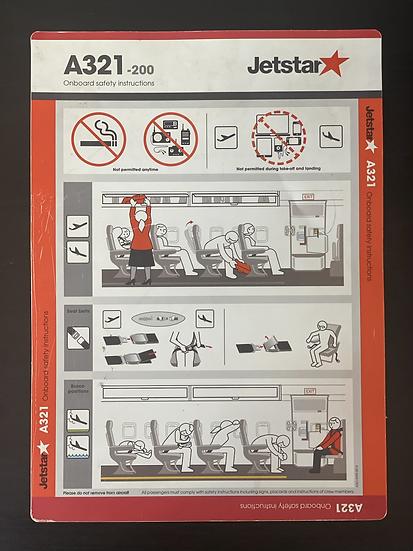 JetStar A321 safety card
