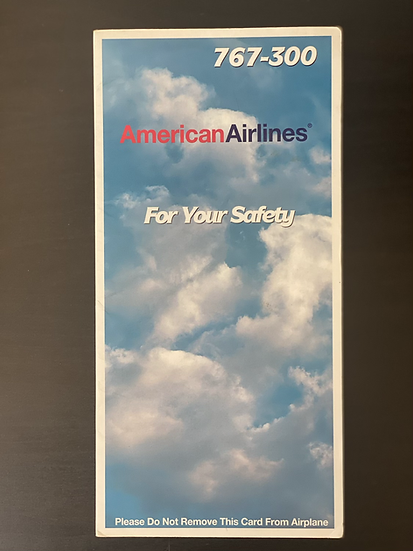 American Airlines 767 safety card