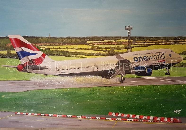 G-CIVL One World B747-436 landing Acrylic painting A2 original