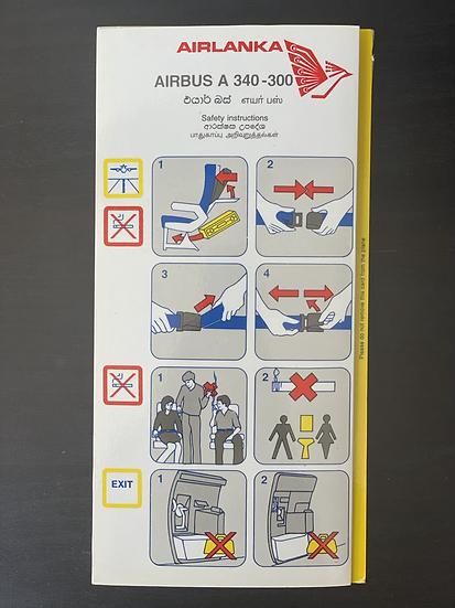 Airlanka A340 safety card