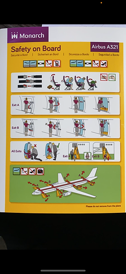 Monarch A321 safety card