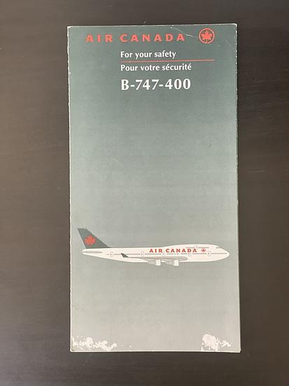Air Canada B747-400 safety card