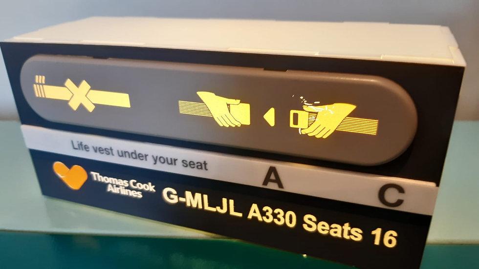 Thomas Cook A330 PSU desk seatbelt light box