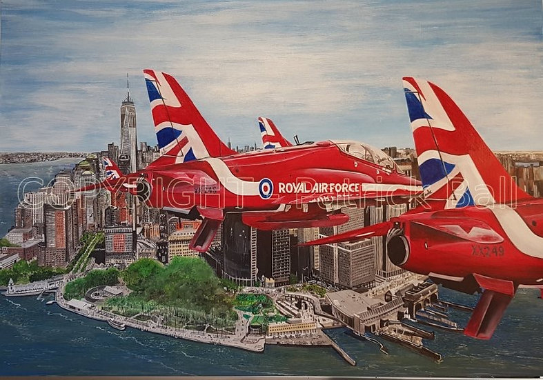 Red Arrows 2019 tour of NY A2 Acrylic original painting