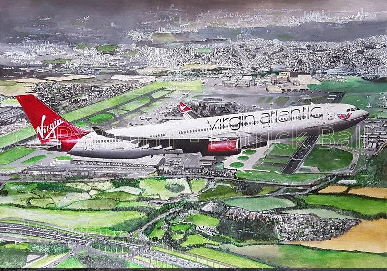 Virgin Atlantic A330 Acrylic painting A2 Print