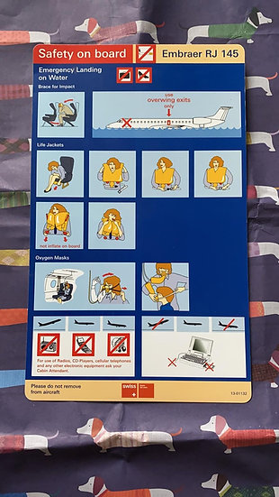 Swiss Air Lines Embraer 145 safety card