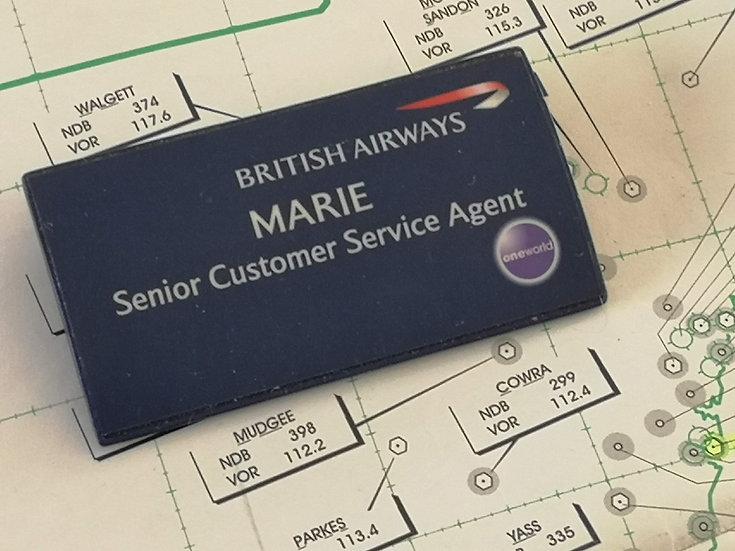 """British Airways """"Marie"""" vintage name badge"""