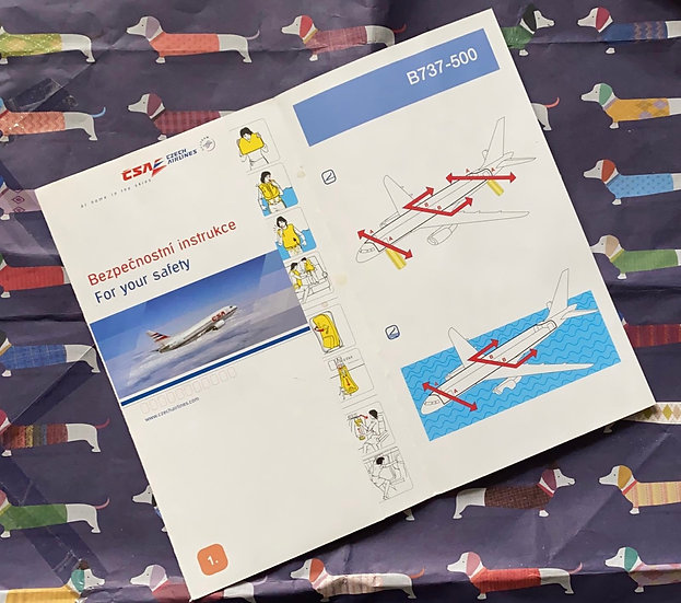 CSA Czech Airlines Boeing 737-500 safety card