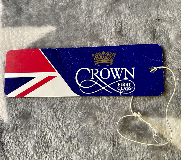 British Airways late 70's luggage tag - Crown First Class