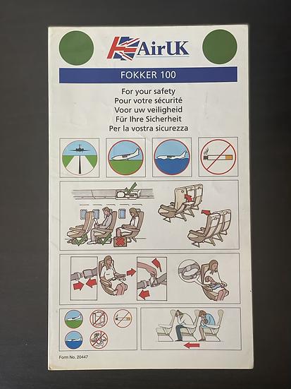 Air UK F100 safety card