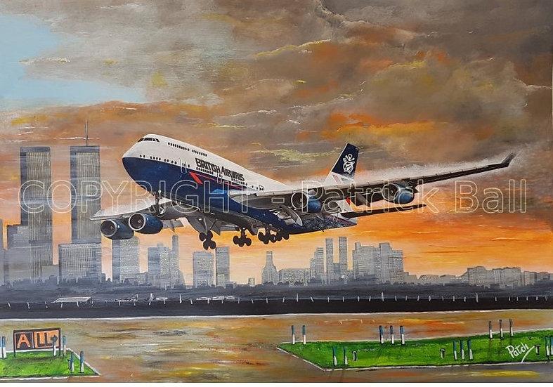 British Airways B747-436 Landor NY Acrylic A4 Print