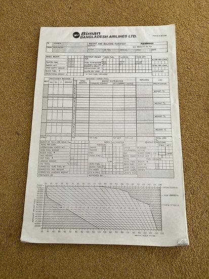 Biman Weight and Balance Manifest F28-4000