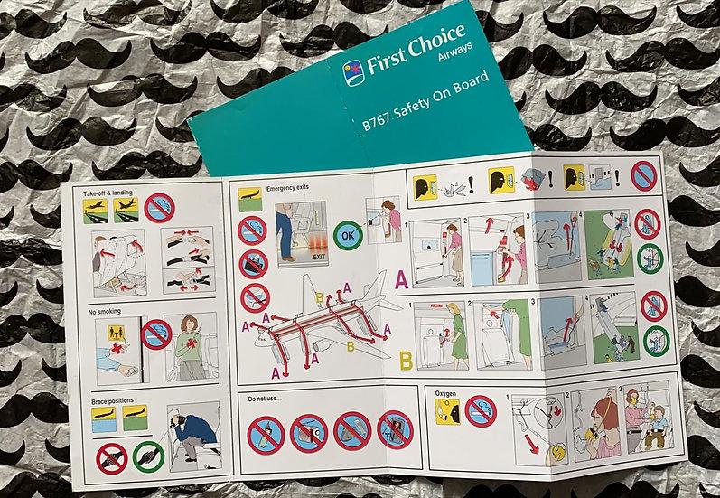 First Choice Airways Boeing 767-300 safety card