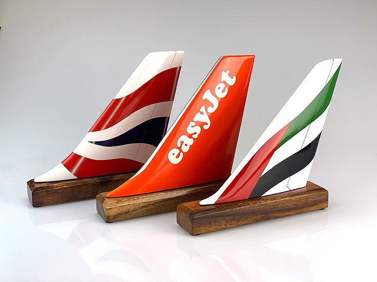 Hand carved and hand painted aircraft tail fin