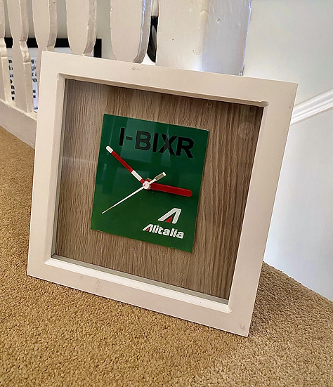 Alitalia Wall Clock featuring aircraft fuselage section from I-BIXR Airbus A321