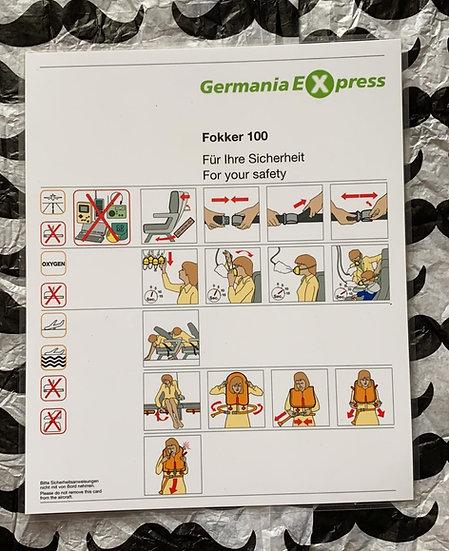 Germania Express Fokker 100 safety card