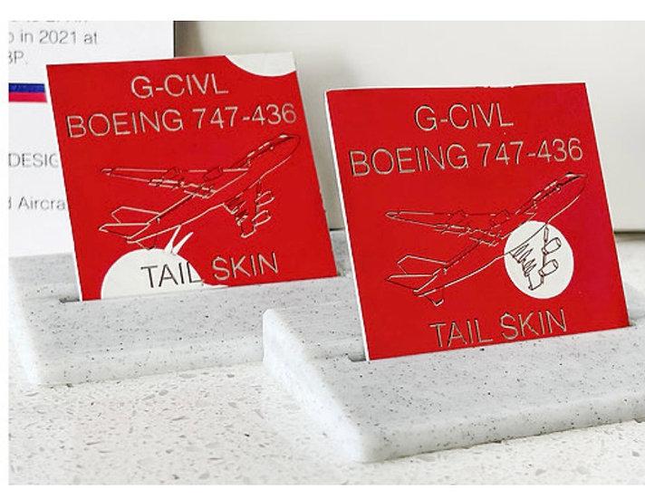 Ex British Airways Boeing 747 Tail Skin Tag G-CIVL