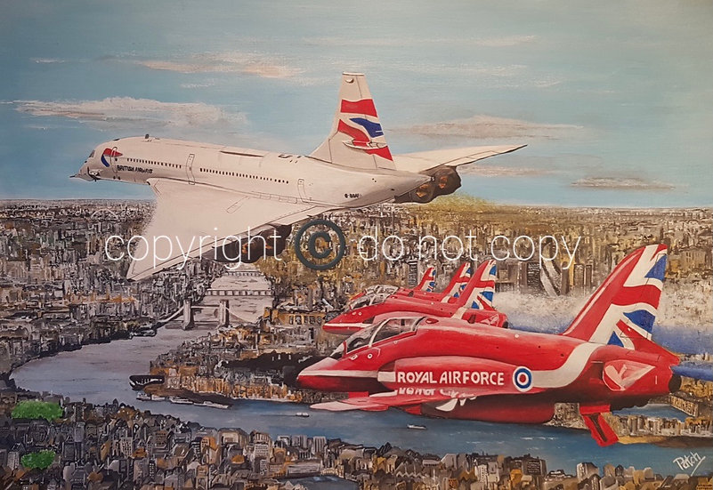 Red Arrows with Concorde over London A4 Acrylic print