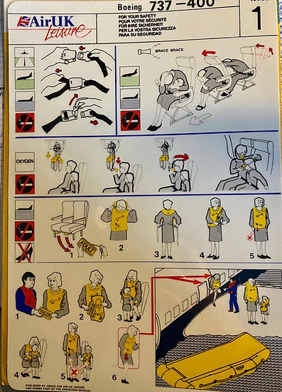 Air UK Leisure safety card 737-400 issue 1