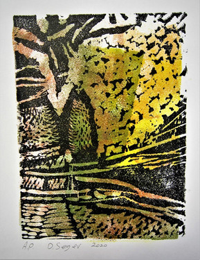African morning. Lino and monotype cutting. 15X21cm. 2020