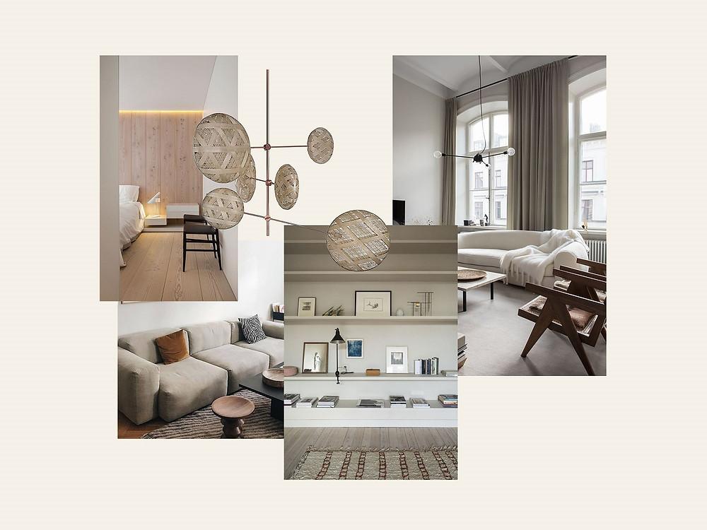 Moodboard de estilo para projeto de design de interiores Tangerinas & Pêssegos