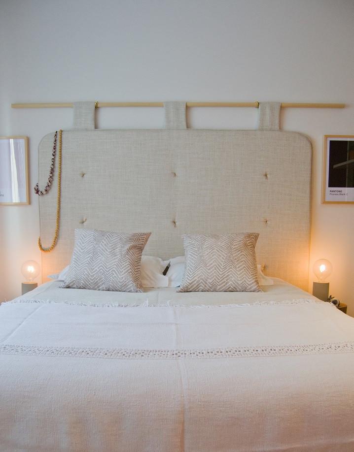 Cabeceira de cama realizada pelo atelier de design de interiores Tangerinas & Pêssegos. Decoradores porto