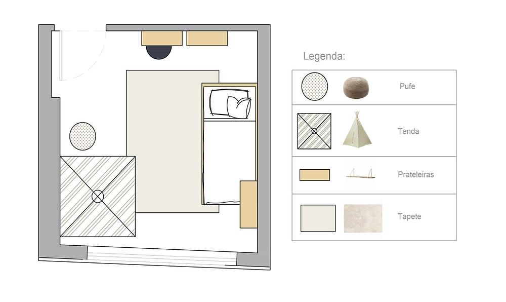 Quarto de crianaça, projeto de renovação de design de interiores