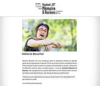 Mélanie Boucher Festival Mémoire et Racines.png