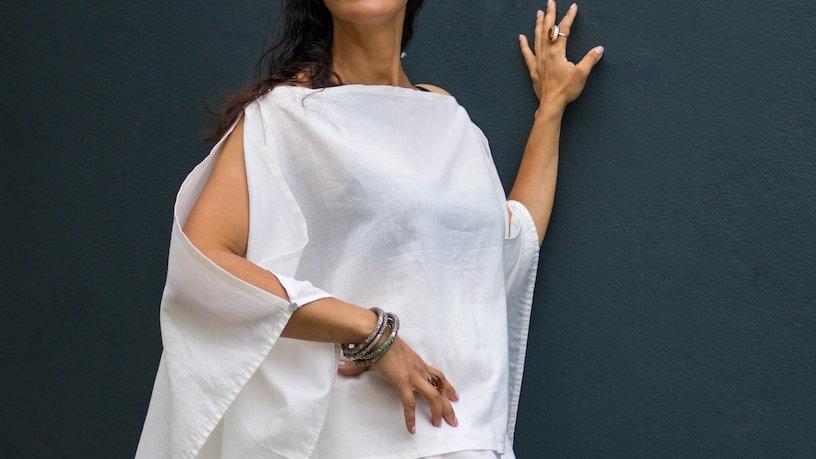 Boho off-white linen top