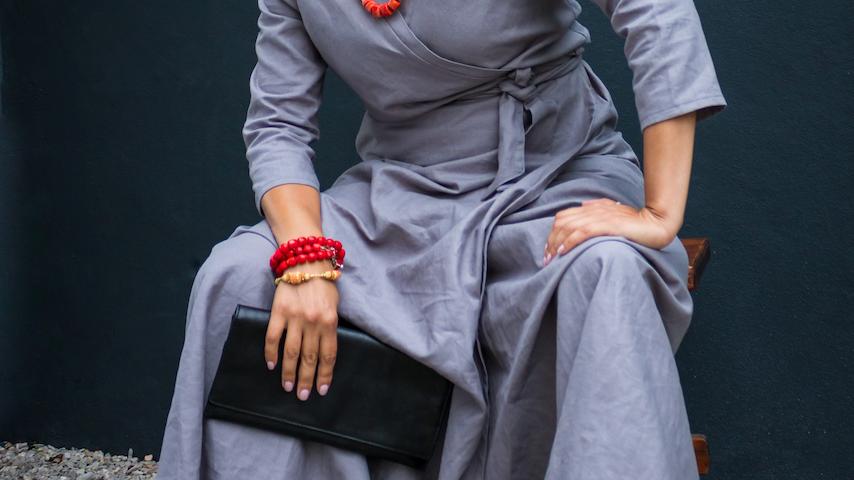 Grey Linen Wrap Dress