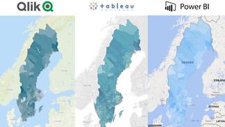 Svenska kommuner i Qlik, Tableau & Power BI