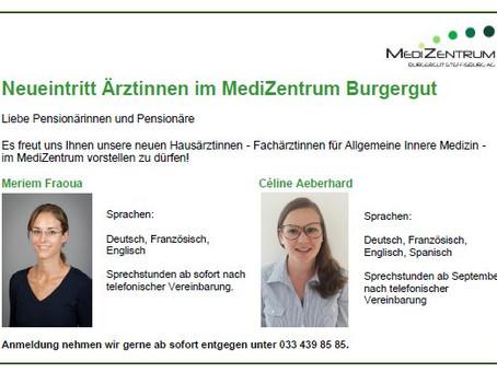 Neueintritt Ärztinnen im MediZentrum Burgergut