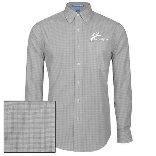 Charcoal Plaid Pattern Long Sleeve Shirt '2utors2you'