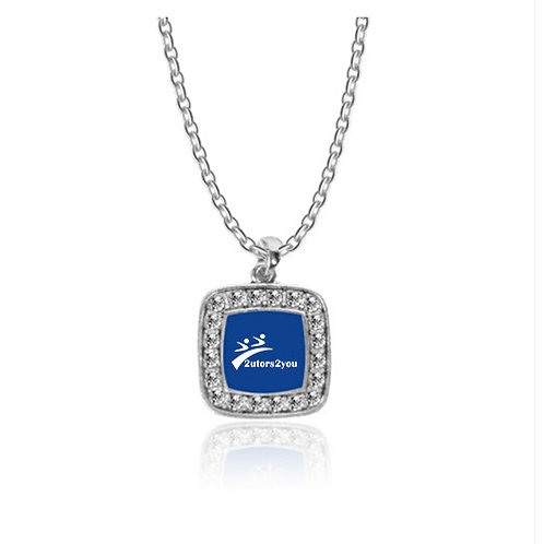 Crystal Studded Square Pendant Silver Necklace '2utors2you'