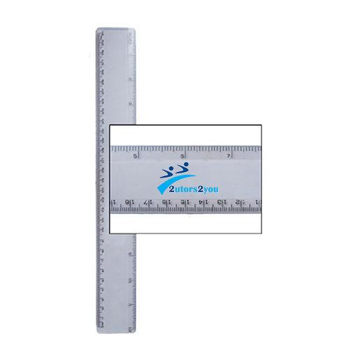 12 Inch White Plastic Ruler '2utors2you'