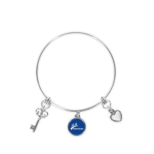 Silver Bangle Bracelet With Three Charms '2utors2you'