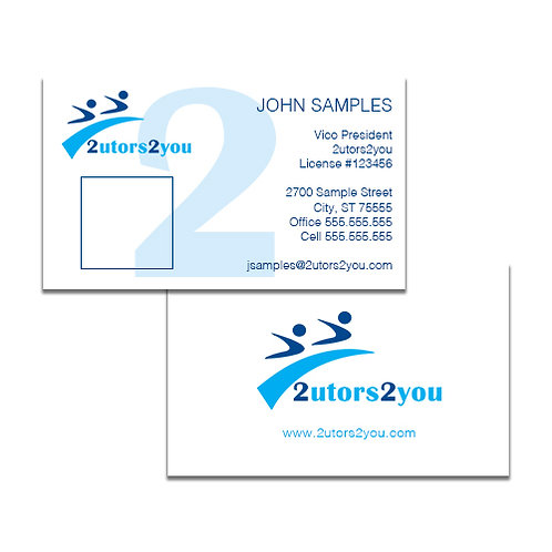 White Business Cards w/Photo '2utors2you'