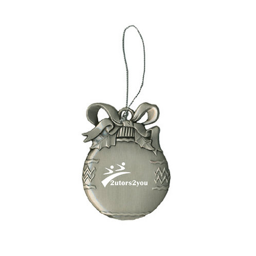 Silver Bulb Ornament '2utors2you'
