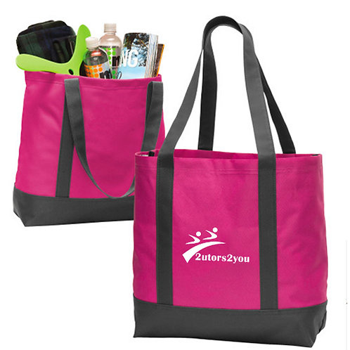 Tropical Pink/Dark Charcoal Day Tote '2utors2you'